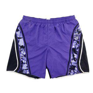 Speedo Swim Shorts Men's Large Black Purple Trunks Graphic Logo Drawstring Lined